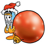 Clip Art Graphic of a Gray Cell Phone Cartoon Character Wearing a Santa Hat, Standing With a Christmas Bauble