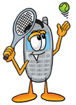 Clip Art Graphic of a Gray Cell Phone Cartoon Character Preparing to Hit a Tennis Ball