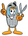 Clip Art Graphic of a Gray Cell Phone Cartoon Character Holding a Pair of Scissors