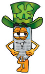 Clip Art Graphic of a Gray Cell Phone Cartoon Character Wearing a Saint Patricks Day Hat With a Clover on it