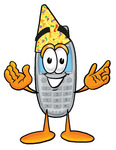 Clip Art Graphic of a Gray Cell Phone Cartoon Character Wearing a Birthday Party Hat