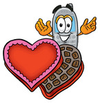 Clip Art Graphic of a Gray Cell Phone Cartoon Character With an Open Box of Valentines Day Chocolate Candies