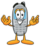Clip Art Graphic of a Gray Cell Phone Cartoon Character With Welcoming Open Arms