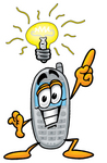 Clip Art Graphic of a Gray Cell Phone Cartoon Character With a Bright Idea