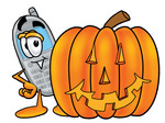Clip Art Graphic of a Gray Cell Phone Cartoon Character With a Carved Halloween Pumpkin