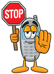 Clip Art Graphic of a Gray Cell Phone Cartoon Character Holding a Stop Sign