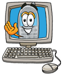 Clip Art Graphic of a Gray Cell Phone Cartoon Character Waving From Inside a Computer Screen