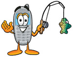 Clip Art Graphic of a Gray Cell Phone Cartoon Character Holding a Fish on a Fishing Pole