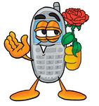 Clip Art Graphic of a Gray Cell Phone Cartoon Character Holding a Red Rose on Valentines Day