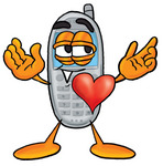 Clip Art Graphic of a Gray Cell Phone Cartoon Character With His Heart Beating Out of His Chest