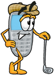 Clip Art Graphic of a Gray Cell Phone Cartoon Character Leaning on a Golf Club While Golfing