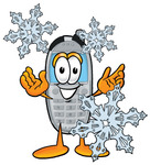 Clip Art Graphic of a Gray Cell Phone Cartoon Character With Three Snowflakes in Winter