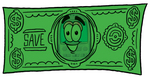 Clip Art Graphic of a Gray Cell Phone Cartoon Character on a Dollar Bill
