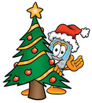 Clip Art Graphic of a Gray Cell Phone Cartoon Character Waving and Standing by a Decorated Christmas Tree