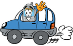 Clip Art Graphic of a Gray Cell Phone Cartoon Character Driving a Blue Car and Waving