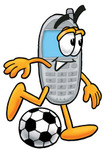 Clip Art Graphic of a Gray Cell Phone Cartoon Character Kicking a Soccer Ball