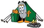 Clip Art Graphic of a Gray Cell Phone Cartoon Character Camping With a Tent and Fire