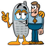 Clip Art Graphic of a Gray Cell Phone Cartoon Character Talking to a Business Man