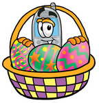 Clip Art Graphic of a Gray Cell Phone Cartoon Character in an Easter Basket Full of Decorated Easter Eggs