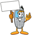 Clip Art Graphic of a Gray Cell Phone Cartoon Character Holding a Blank Sign