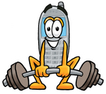 Clip Art Graphic of a Gray Cell Phone Cartoon Character Lifting a Heavy Barbell