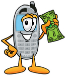 Clip Art Graphic of a Gray Cell Phone Cartoon Character Holding a Dollar Bill