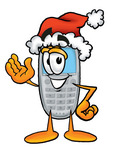 Clip Art Graphic of a Gray Cell Phone Cartoon Character Wearing a Santa Hat and Waving