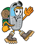 Clip Art Graphic of a Gray Cell Phone Cartoon Character Hiking and Carrying a Backpack