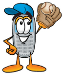 Clip Art Graphic of a Gray Cell Phone Cartoon Character Catching a Baseball With a Glove
