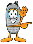 Clip Art Graphic of a Gray Cell Phone Cartoon Character Waving and Pointing