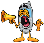 Clip Art Graphic of a Gray Cell Phone Cartoon Character Screaming Into a Megaphone