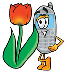 Clip Art Graphic of a Gray Cell Phone Cartoon Character With a Red Tulip Flower in the Spring