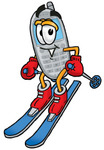 Clip Art Graphic of a Gray Cell Phone Cartoon Character Skiing Downhill