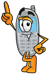 Clip Art Graphic of a Gray Cell Phone Cartoon Character Pointing Upwards