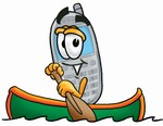 Clip Art Graphic of a Gray Cell Phone Cartoon Character Rowing a Boat