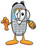 Clip Art Graphic of a Gray Cell Phone Cartoon Character Looking Through a Magnifying Glass