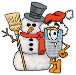 Clip Art Graphic of a Gray Cell Phone Cartoon Character With a Snowman on Christmas