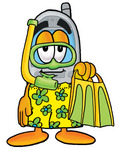Clip Art Graphic of a Gray Cell Phone Cartoon Character in Green and Yellow Snorkel Gear