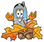 Clip Art Graphic of a Gray Cell Phone Cartoon Character With Autumn Leaves and Acorns in the Fall