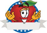 Clip art Graphic of a Red Apple Cartoon Character Label With Stars