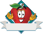 Clip art Graphic of a Red Apple Cartoon Character Label