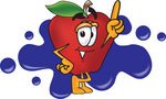 Clip art Graphic of a Red Apple Cartoon Character Logo With Blue Paint Splatters