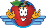 Clip art Graphic of a Red Apple Cartoon Character Logo
