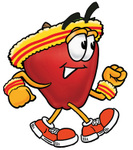 Clip art Graphic of a Red Apple Cartoon Character Speed Walking or Jogging