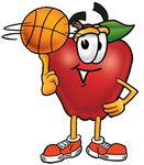 Clip art Graphic of a Red Apple Cartoon Character Spinning a Basketball on His Finger