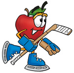 Clip art Graphic of a Red Apple Cartoon Character Playing Ice Hockey