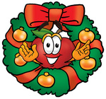 Clip art Graphic of a Red Apple Cartoon Character in the Center of a Christmas Wreath