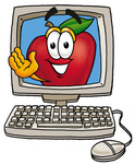 Clip art Graphic of a Red Apple Cartoon Character Waving From Inside a Computer Screen