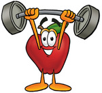 Clip art Graphic of a Red Apple Cartoon Character Holding a Heavy Barbell Above His Head