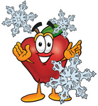 Clip art Graphic of a Red Apple Cartoon Character With Three Snowflakes in Winter